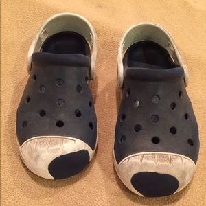 GUC Sz 12 Boy Navy Blue & White Crocs